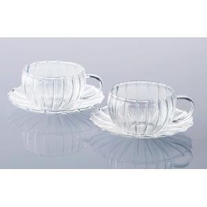 カップとソーサーのペアセット 耐熱ガラス ティーフォーツー ウェーブティー|suzuhiro-2