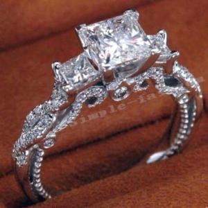 高級CZダイヤモンド 大粒スクエアカットジルコニア エンゲージリング 指輪 繊細 立体的 Silve...