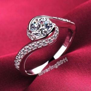 レディース キラキラ高級CZダイヤモンドリング キュービックジルコニア指輪 Silver925ファッ...
