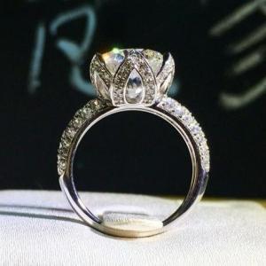 レディース エンゲージリング ロータス 大粒CZダイヤモンドリング キュービックジルコニア 指輪 S...