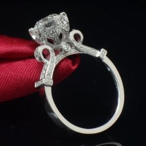 レディース 繊細クラシカルなエンゲージリング CZダイヤモンド 高級キュービックジルコニア指輪 Si...