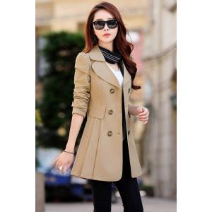 商品名:春 裾 プリーツ スプリング ジャケット コート ダブル スリム ウェストシェイプ Aライン...