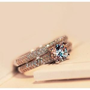 レディース CZダイヤモンドエンゲージリング 螺旋デザインキュービックジルコニア 指輪 Silver...