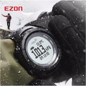EZON 多機能 腕時計 メンズ スポーツ デジタル 高度計 バロメーターコンパス 温度計 ハイキン...