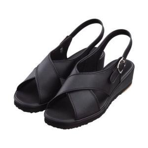 ナースシューズ 足の形にフィットする波形で長時間の立ち仕事に最適!!疲れにくい黒(ブラック)人気のサンダル suzukiseni