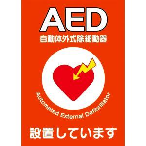 AED設置シール A5版 両面印刷 1枚  ステッカー Y267B|suzumori