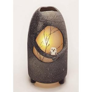 信楽焼陶器 室内照明 月のふくろう 屋内用 高43.0cm|suzunet-sho