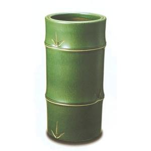 信楽焼陶器 傘立 竹筒 織部釉 高47cm|suzunet-sho