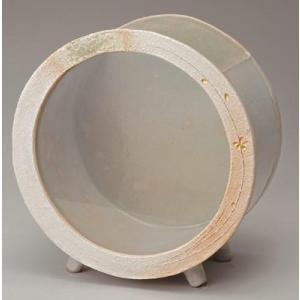 信楽焼焼陶器 白金彩丸水槽 (大)|suzunet-sho