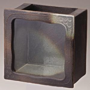 信楽焼焼陶器 黒釉角水槽|suzunet-sho