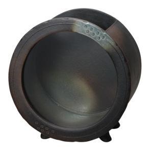 信楽焼焼陶器 黒釉丸水槽 (大)|suzunet-sho