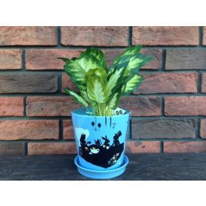 アリスのティータイムシルエット絵柄・鉢植え&水受けトレーセット|suzuyatoy