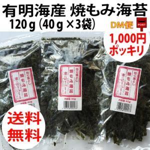 有明海 焼もみ海苔 120g 1袋40g×3袋 切り落し海苔 クロネコDM便 同梱・代引、不可