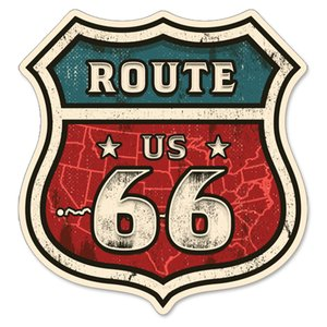 RT 66 (ルート 66) ステッカー ラージ Route 66 Map of Route 66-SP-ST-709|swam