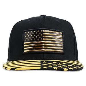 フラット バイザー キャップ USA FLAG ブラック AC-CP-SM096-02|swam