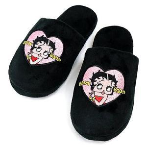 ベティブープ (Betty Boop) スリッパ ブラック BB-SA-SL-ZHEART-BK|swam