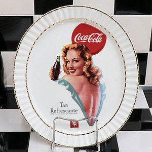 Coke (コカ・コーラ) 120th アニバーサリー 12inch オーバル プレート Tan Refrescante CC-LI-OP-L16872W swam