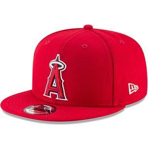 フラット バイザー キャップ エンジェルス Men's Los Angeles Angels New Era Red Team Color 9FIFTY Snapback Hat レッド MLB-CP-9FIFTY-RD swam