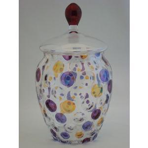 ボヘミア ガラス キャンディーポット  swan-antiques