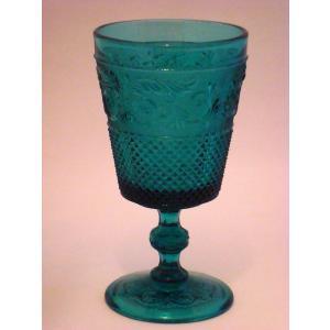 ヴィンテージ・ゴブレット  16.5cm  グリーンガラス   プレスガラス ワイングラス swan-antiques