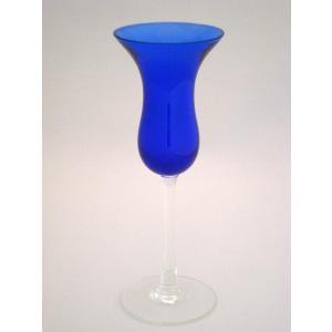 英国ヴィンテェージ ガラス・キャンドルホルダー ブルー 15.5cm 未使用品 swan-antiques
