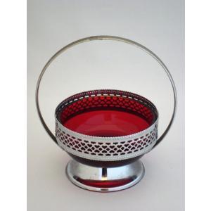 英国 ビンテージ ジャムディッシュ イングリッシュ・レッド・ガラス|swan-antiques