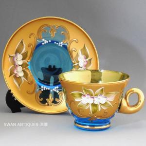 ヴェネチアン/ベネチアン グラス  ムラノ カップ&ソーサー  イタリア 金彩ブルー swan-antiques