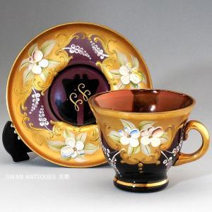 ヴェネチアン/ベネチアン グラス  ムラノ カップ&ソーサー  イタリア  swan-antiques