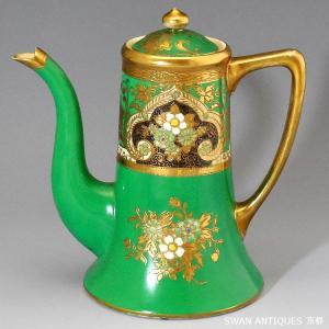 送料無料 オールドノリタケ アンティーク マルキ印1911年 英国里帰り コーヒーポット  エメラルドグリーン|swan-antiques