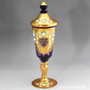 送料無料 ヴェネチアン グラス ムラノ 蓋付 ゴブレット 24金彩 コバルトブルー 25cm ワイングラス swan-antiques