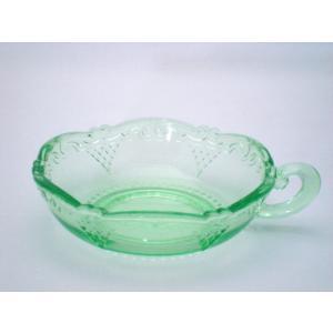 ヴィンテージ・ガラス エメラルドグリーン ガラスプレート swan-antiques