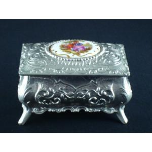 フランス リモージュ 銀の宝石箱 ピューター本錫 キャスケット足付|swan-antiques