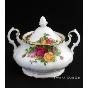 ロイヤルアルバート Royal Albert 英国製オールドカントリーローズ シュガーポット England 廃盤品 新品同様 箱付|swan-antiques