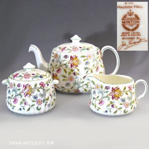 送料無料 ミントン Minton 英国製ハドンホール グリーン ティーポット シュガーポット&クリーマー Lサイズ セット未使用 廃盤品|swan-antiques