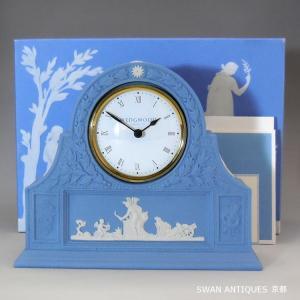 送料無料 ウェッジウッド Wedgwood 英国製 ジャスパー ペールブルー  置時計 マントルクロック ボックス付き|swan-antiques