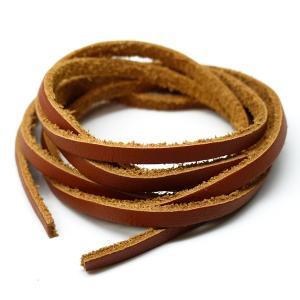 アレンジ自由自在本革100cmレザーコード幅3mm ハンドメイドに使えて便利 キャメル革紐 ain108|swan-hoseki