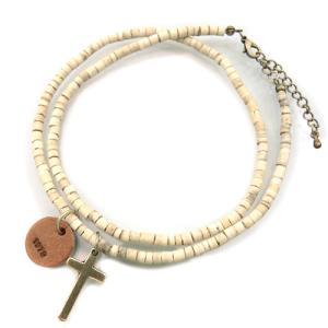 送料無料 アンクレット クロス ホワイトウッドビーズ ゴールド白 十字架 ロザリオ メンズ 男性用 ペア ブレス ank31|swan-hoseki