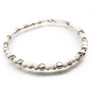 送料無料 アンクレット シンプル ホワイトストーン 天然石 白 メンズ 男性用 ペア ブレス ank63|swan-hoseki