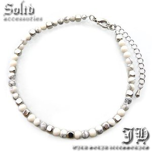 送料無料 アンクレット シンプル ホワイトストーン 天然石 白 レディース 女性用 ペア ブレス ank63|swan-hoseki