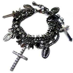 b199 喜平ストーン5連チェーンブレスレット クロス ブラックメタリック|swan-hoseki