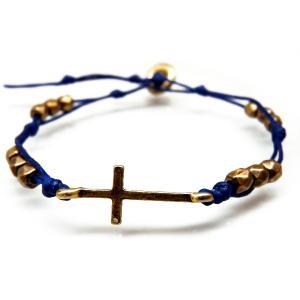 送料無料人気クロスのブレスレット メンズ レディース ペア ブレス 十字架 青ブルー アンティークゴールドcrb781|swan-hoseki