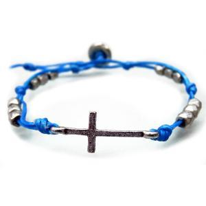 送料無料人気クロスのブレスレット メンズ レディース ペア ブレス 十字架 水色 アンティークシルバーcrb782|swan-hoseki