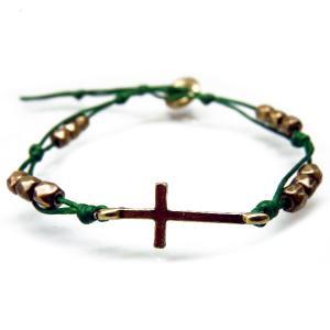 送料無料人気クロスのブレスレット メンズ レディース ペア ブレス 十字架 緑グリーン アンティークゴールドcrb787|swan-hoseki