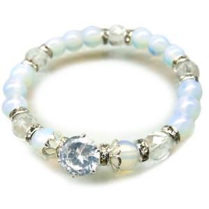 もっと絆を深めたいパワーストーン オブシディアンオパール 水晶 レディース 開運 天然石ブレスレット ホワイトb838 swan-hoseki