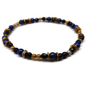 特別価格1880円 メンズ 煌きブレスレット ブレス セレブ カットガラス カラービーズ 青色 ブルーb944|swan-hoseki