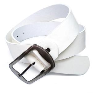 belt17 新型 人気の本革風 フェイクレザーベルト入荷 イケメン必須 白|swan-hoseki