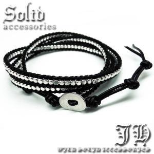 本革3連 ワンランク上のラップブレス 黒レザー ブラック シルバー男性 メンズ ペア お揃い ブレスレットchb35|swan-hoseki|02