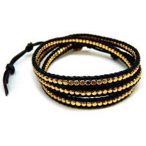 本革3連 ワンランク上のラップブレス 黒レザー ブラック ゴールド男性 メンズ ペア お揃い ブレスレットchb41|swan-hoseki