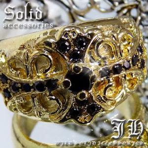 chr5 19号 今だけ 送料無料 1260円 ブラック煌きGlass 19pis 24kカラー ゴールドRGリング フレアクロス 指輪ペアリング|swan-hoseki