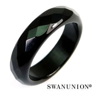 メンズ リング 指輪 シンプル ブラック デザイン 天然石 パワーストーン 多面カットオニキスリング ピンキー ペア|swan-hoseki